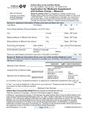 Fillable Online Application for Medicare supplement and ...