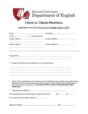 thesis proposal english department