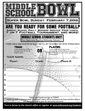fillable online tallowood ms bowl 16 signup form tallowoodorg fax