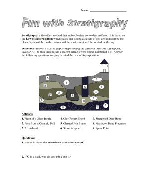 Stratigraphic dating worksheet