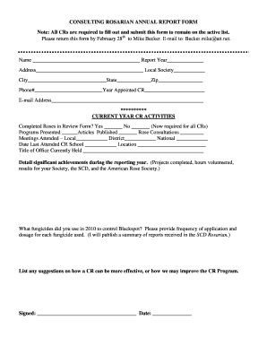 CONSULTING ROSARIAN ANNUAL REPORT FORM