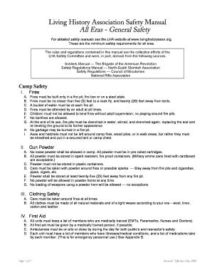 fillable online livinghistoryassn lha basic safety manual living rh pdffiller com basic safety training manual basic safety manual free download
