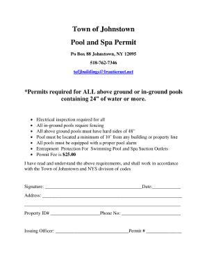 Fillable Online townofjohnstown Town of Johnstown Pool and Spa