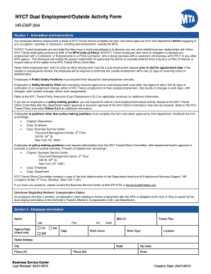 Fillable Online mtatmba Dual Employment Form (BSC) - MTA