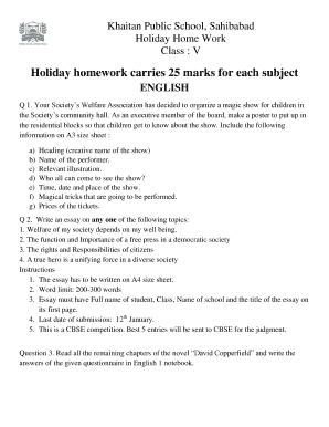 holiday homework khaitan public school sahibabad