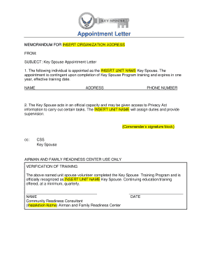 Appointment Letter - bGoodfellowb Air Force Base - goodfellow af
