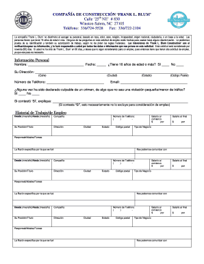 fillable online spanish employment application final versiondoc fax
