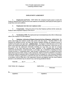 Simple Employment Agreement Sample Forms And Templates Fillable