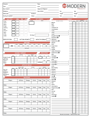 Download D20 Modern Pdf Character Sheet