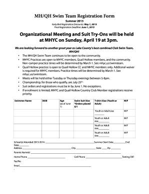 Fillable Online MHQH Swim Team Registration Form Fax Email