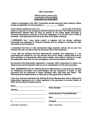 Editable What Is A Stock Subscription Agreement Fill Out