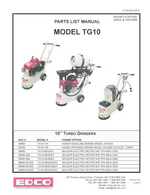 fillable online etg10pl0515 parts list manual revised starting rh pdffiller com