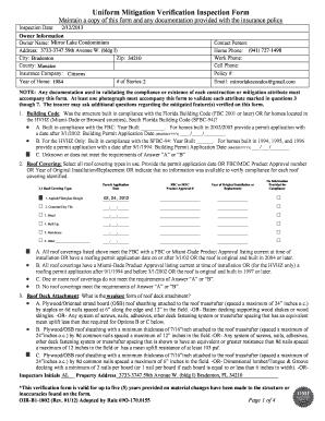 Fillable Online Uniform Mitigation Verification Inspection Form ...