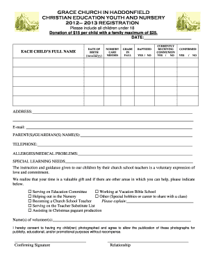Our Sunday School Registration Form - Grace Episcopal Church ... - gracehaddon