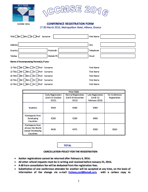 Fillable Online iccmse CONFERENCE REGISTRATION FORM ICCMSE