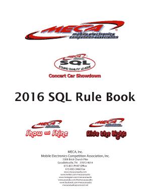 Fillable Online SQL Rule Book MECA Car Audio Fax Email Print - Meca car show