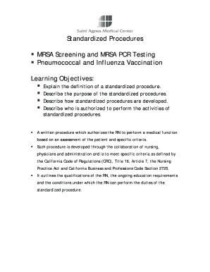 Fillable Online Standardized Procedures MRSA Screening and