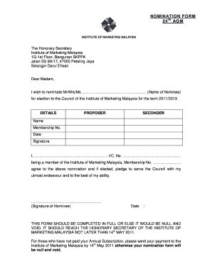 Fillable Online Imm Org Nomination Form 24 Th Agm Imm Imm Org Fax Email Print Pdffiller