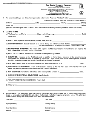 Post Closing Occupancy Agreement 1 The Undersigned Buyer And