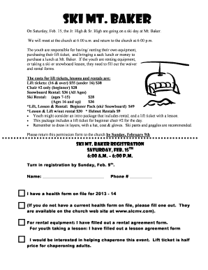 Fillable Online Ski Mt Baker Slcmvcom Fax Email Print