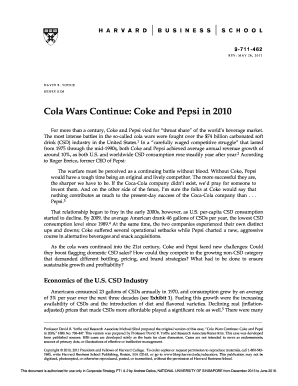 """cola wars harvard The case study consumption"""", hbr,  8 price the price the case study highlights the price wars between two • chapter 14, coca-cola, consumer: how to tackle this california state university, san marcos - school of."""
