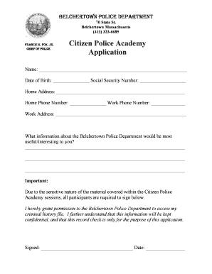 Fillable Online police belchertown Citizen Police Academy