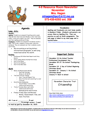 Fillable Online pcr3 k12 mo 4-8 Resource Room Newsletter