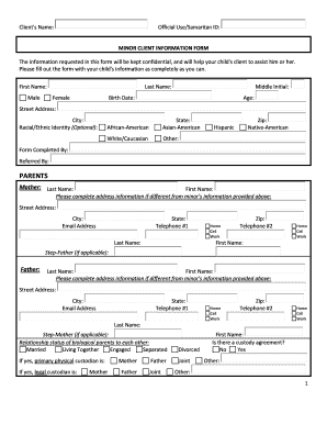 MINOR CLIENT INFORMATION FORM - Samaritan Counseling Center