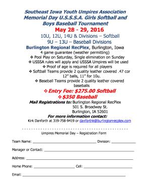 Fillable Online Memorial Day Umpires Tournament Registration