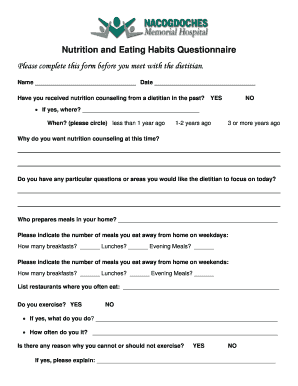 editable nutrition and eating habits questionnaire form samples