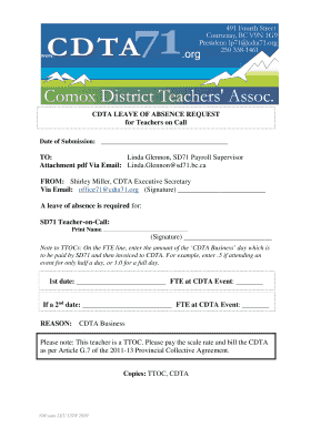 LEAVE OF ABSENCE REQUEST FORM TTOC - cdta71