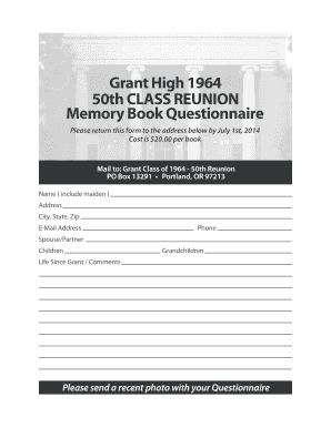 grant high 1964 50th class reunion memory book questionnaire