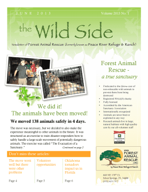 JUNE 2013 the Wild Side - Forest Animal Rescue - forestanimalrescue