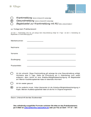 Gesundmeldung Vorlage Fill Online Printable