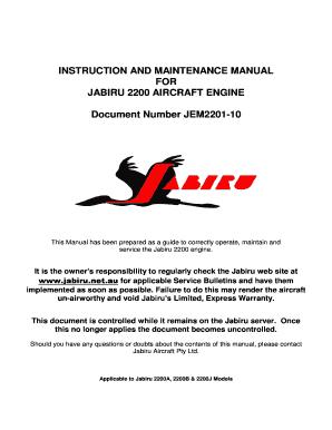 Fillable Online jabiru net Instruction and maintenance