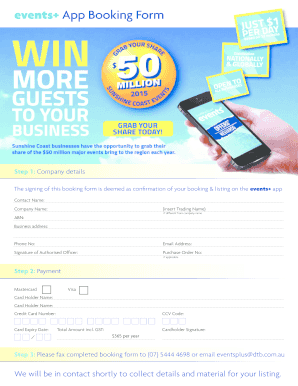 Events App Booking Form - bdtbbbcombau