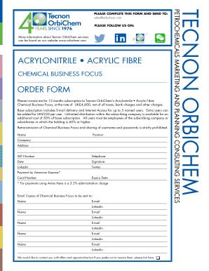 Chemical Order Form on maintenance form, drug abuse risk assessment form, computer form, marketing form,
