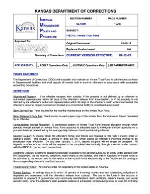 Fillable Online Doc Ks Kansas Department Of Corrections