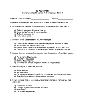Examen Para Montacargas Con Respuestas Fill Online Printable Fillable Blank Pdffiller