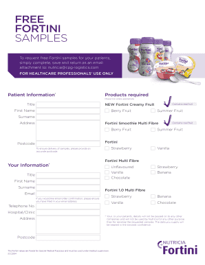 Free fortini samples - Nutricia Fortini Creamy Fruit Fill