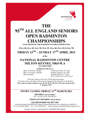 The 95th All England Seniors Entry Form - badminton