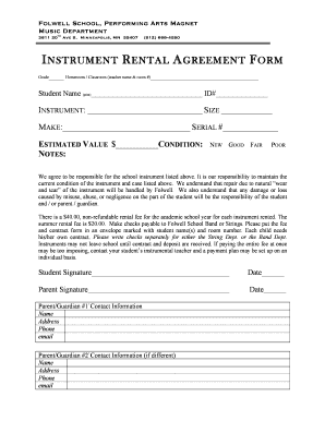 Fillable Online Folwell Mpls K12 Mn Instrument Rental Agreement Form