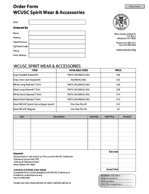 Fillable Online Order Form WCUSC Spirit Accessories Fax Email ... on printable order forms templates, fillable payment receipt forms, cd pre-order forms templates, fillable certificates templates, fundraiser order sheet templates,