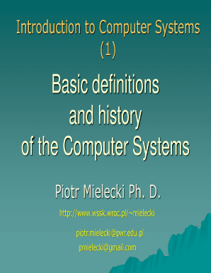 Basic definitions and history of the Computer Systems - wssk wroc