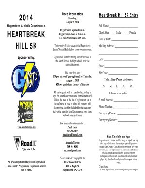 2014 Race Information Heartbreak Hill 5K Entry Saturday - wcchallenge