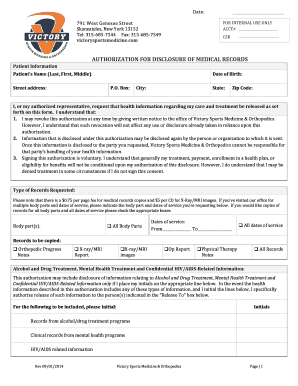 Medical Record Request Form - Victory Sports Medicine ...