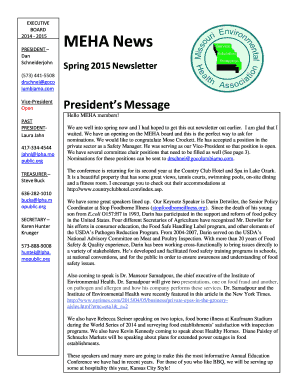 Spring 2015 Newsletter - Missouri Milk Food and Environmental - mmfeha