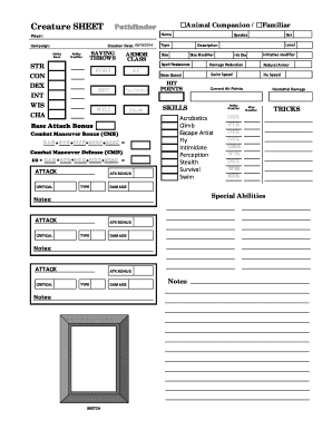 photo regarding Pathfinder Character Sheets Printable identify Pathfinder Animal Spouse Sheet Pdf - Fill On the web