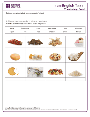 Editable food vocabulary exercises pdf - Fill, Print & Download