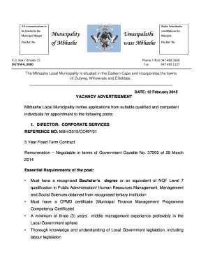 ADVERT FOR CFO AND Director - Corporate Services 12 February ... - mbhashemun gov